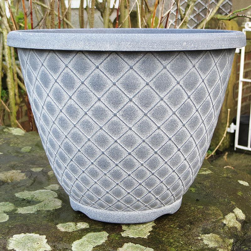 Bell Quilt Planter, grå/vit-Lättviktskruka Bell Quilt Planter Gr/vit