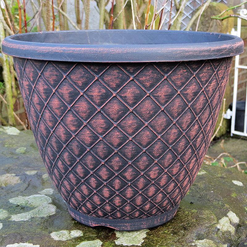 Bell Quilt Planter, rustik svart, Lättviktskruka Bell Quilt Planter Rustik/svart