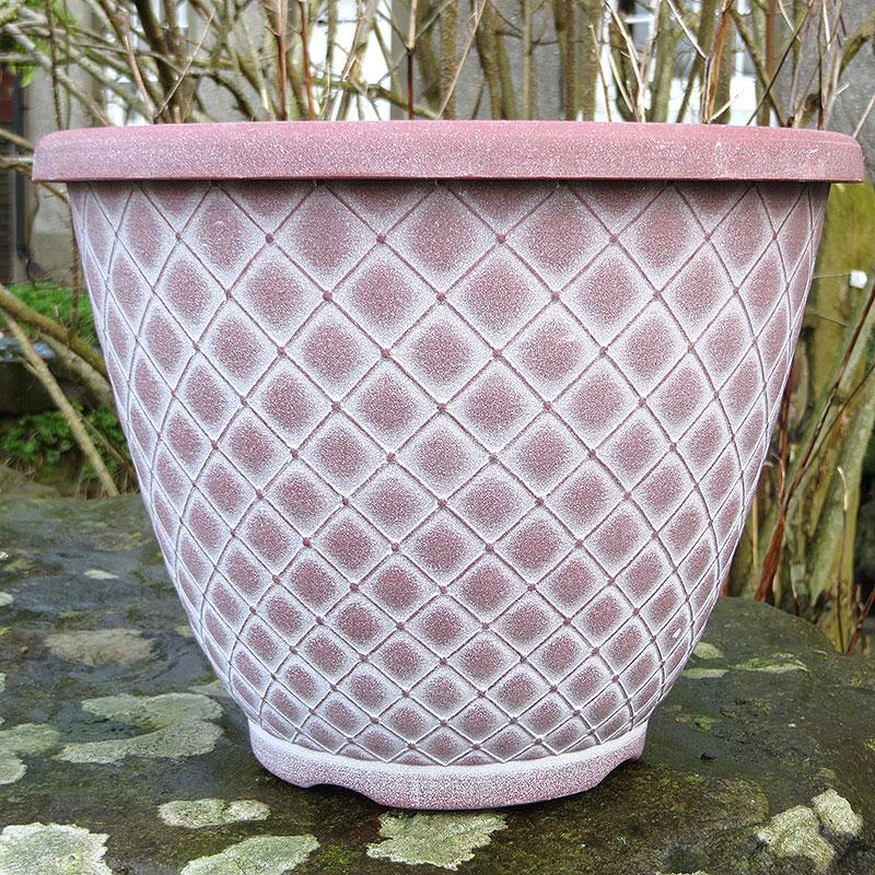 Bell Quilt Planter, terrakotta/vit-Lättviktskruka Bell Quilt Planter Terrakotta/vit