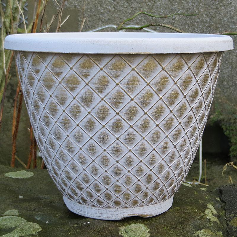 Bell Quilt Planter, vit/guld-Lättviktskruka Bell Quilt Planter Vit/guld