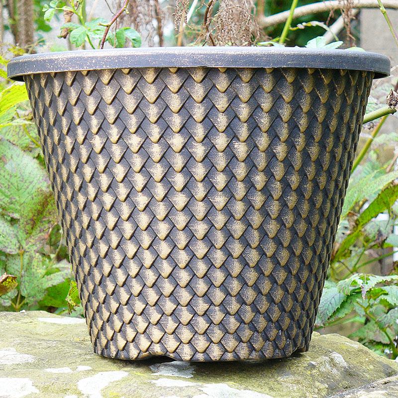 Pinecone Planter, svart/guld-Lättviktskruka Pinecone Planter Svart/guld