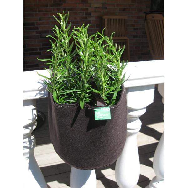Filtkruka räcke rund- Rund kruka i filt för odling på balkong och terrass