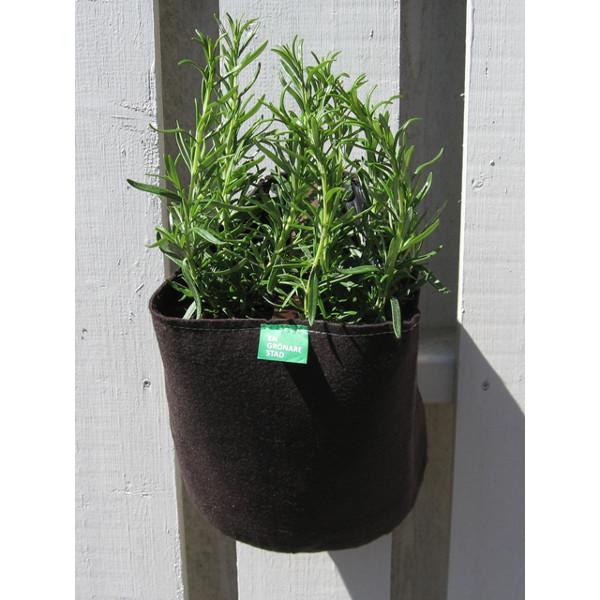 Filtkruka vägg rund, Rund kruka i filt för odling på balkong och terrass