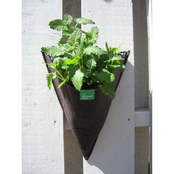 Väggodlingskruka i filt för odling på balkong och terrass