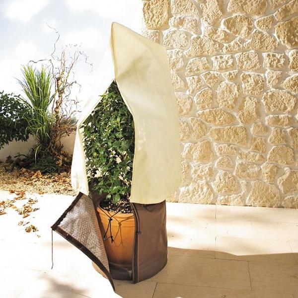 Krukskydd med kronskydd - set, Krukskydd och fiberduk set för övervintring av växter i kruka utomhus
