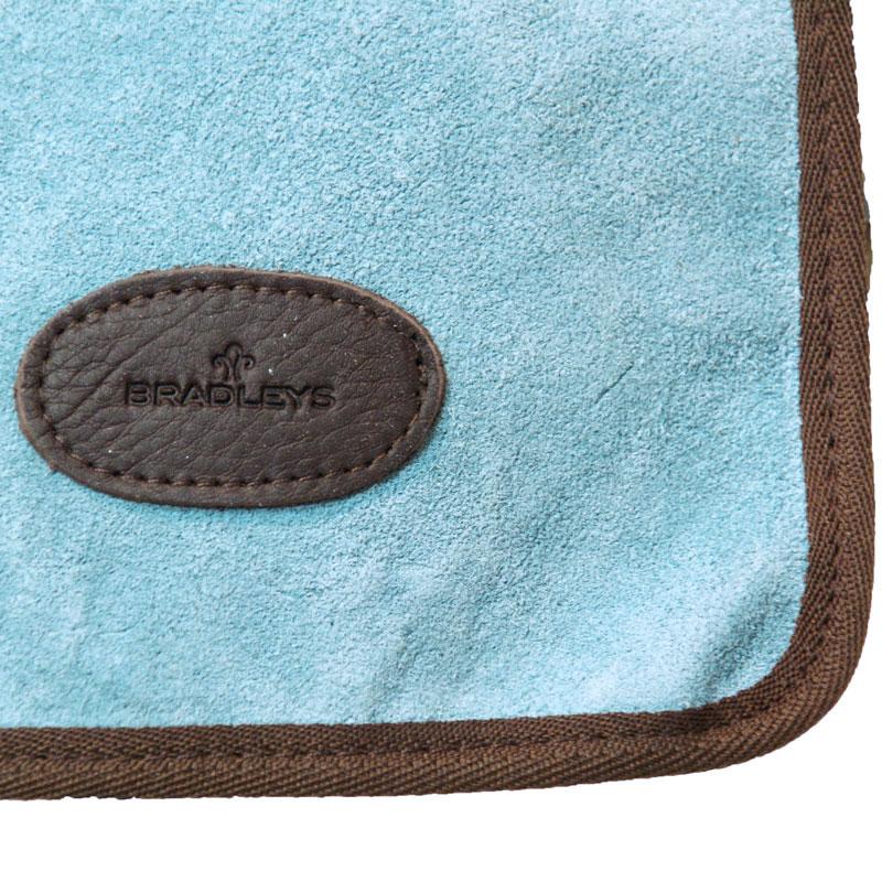 Rosmönstrat mocka/linne-förkläde med ficka för trädgårdsredskap