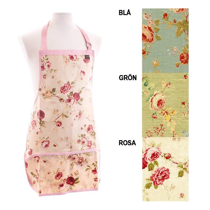 Färgexempel trädgårdsförkläde med rosmönster