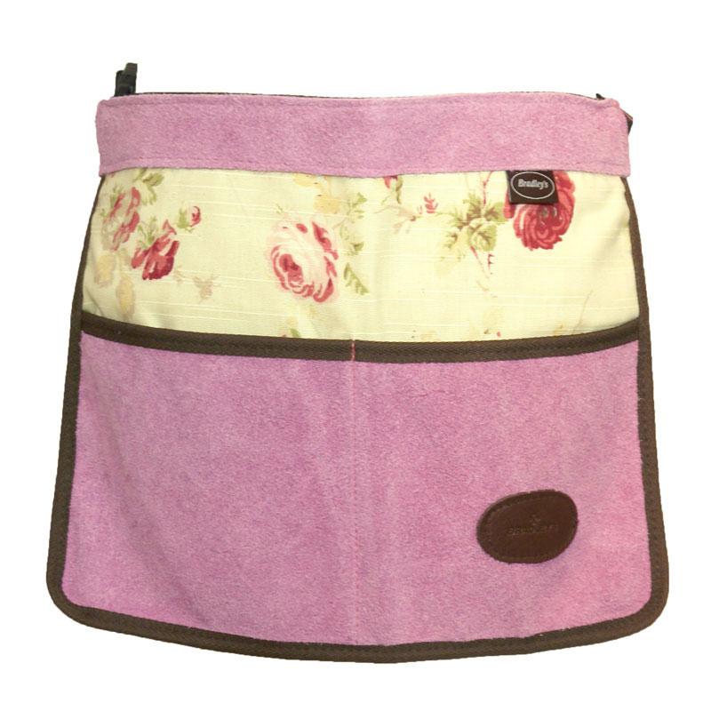 Trädgårdsförkläde i mocka och vaxat linne, rosa, Trägårdsförkläde i mocka och vaxat linne med rosmönster