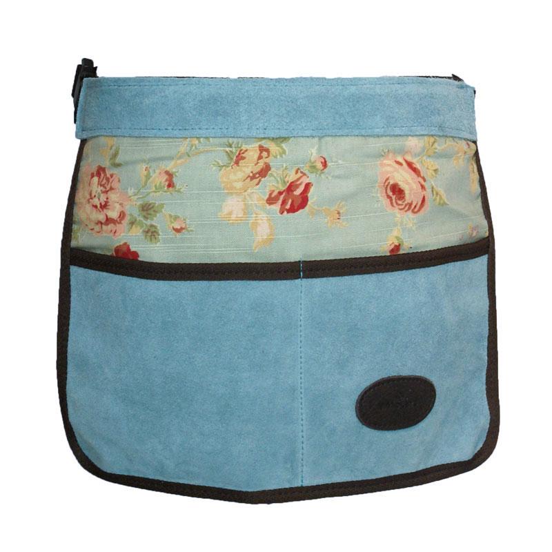 Trädgårdsförkläde i mocka och vaxat linne, blått, Trädgårdsförkläde i mocka med vaxat linne med rosmönster