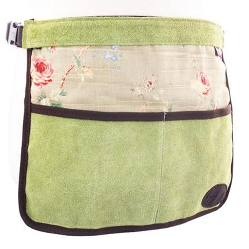 Trädgårdsförkläde i mocka och vaxat linne, grönt, Trädgårdsförkläde i mocka/vaxat linne med rosenmönster