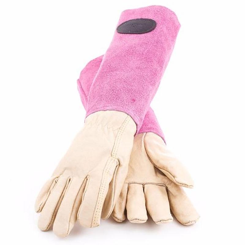 Skinnhandskar med mockaskaft, rosa strl 7,5, Trädgårdshandskar i skinn och mocka med högt skaft, cerise/rosa
