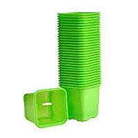 Plastkruka Limegrön, 6 cm-Limegröna plastkrukor för frösådd och plantor