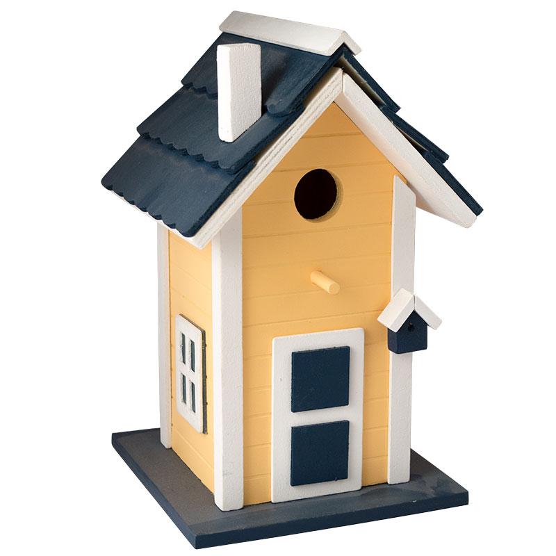 Fågelholk i trä, gul, Fågelholk modellhus gult