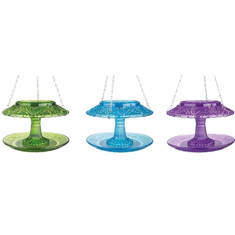 Fågelmatare i pressglas, lila, Fågelbord i pressglas