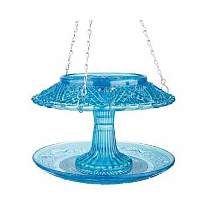 Fågelmatare i pressglas, blå, Fågelbord i pressglas, blått