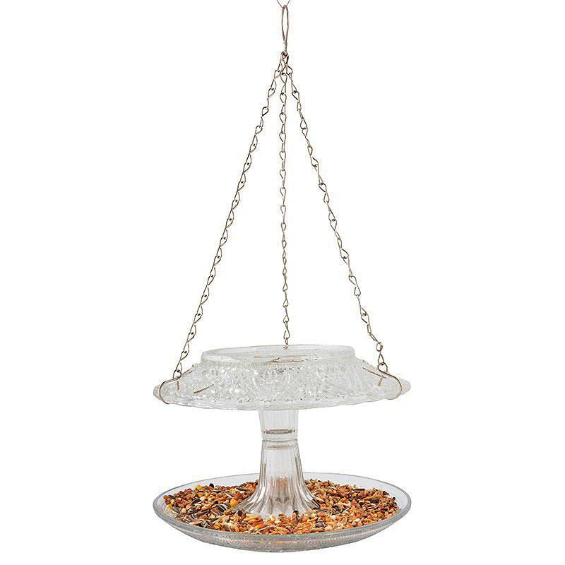 Fågelbord i pressglas, klarglas