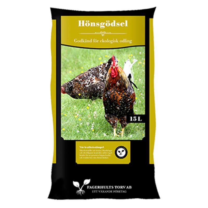 Hönsgödsel, 15 L-Hönsgödsel för gödning av trädgårdens växter 15 liter