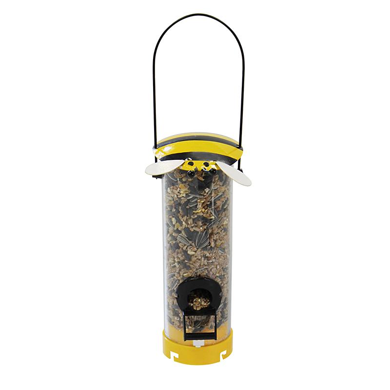Foderautomat, modell bi, Foderautomat med bi, gul/svart.