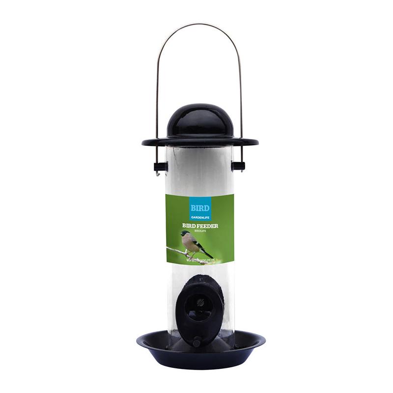 Foderautomat för vildfågelfrön-Foderautomat för vildfågelfrön i pulverlackerat stål.