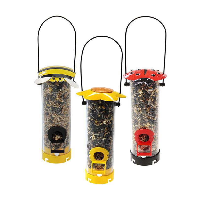 Foderautomat, modell nyckelpiga, Fågelautomat Mix i olika varianter.