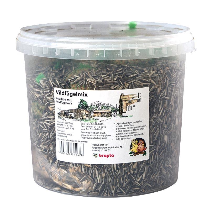 Fågelmat, vildfågelmix i hink, 5 liter-Näringsrik blanding av fröer till fåglar.