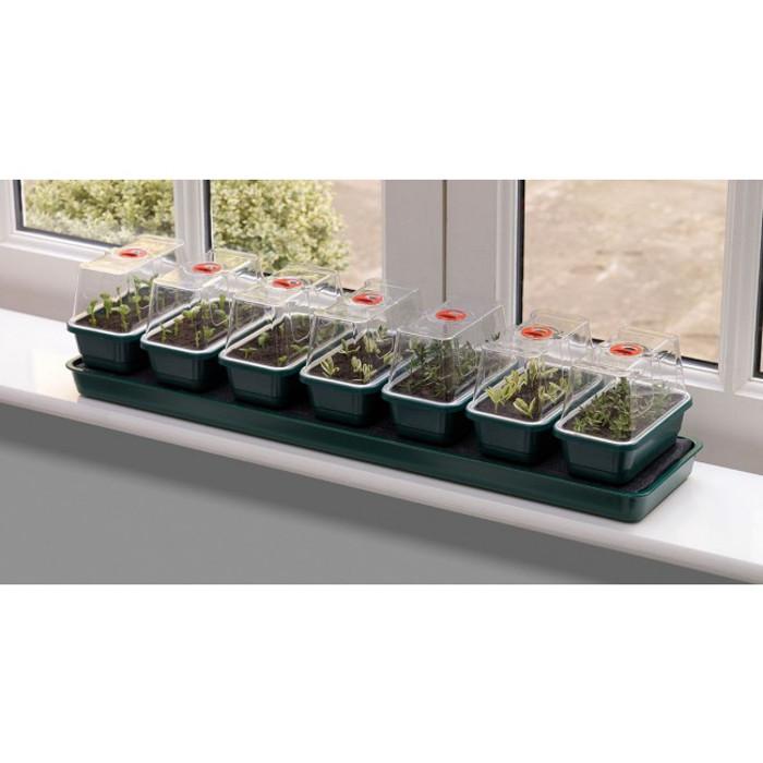 Miniväxthus med bevattning för fönsterbrädan - 7 kupor, Miniväxthus Super 7 med bevattning och 7 separata miniväxthus