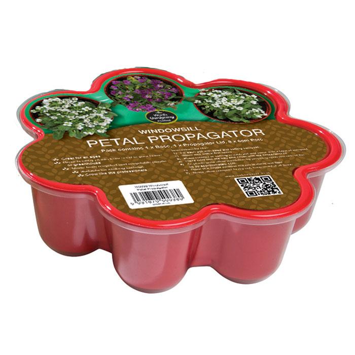 Blomformat miniväxthus för fönsterbrädan - Röd, miniväxthus format som en blomma