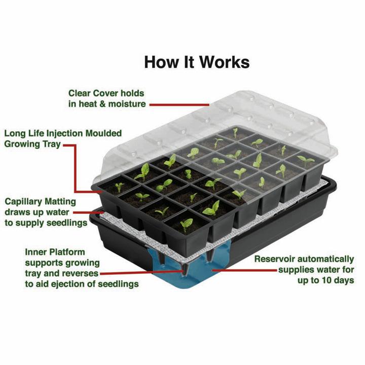 Seed Success miniväxthus med bevattning, 24 celler, odlingsväxthus mini för frösådd med bevattning
