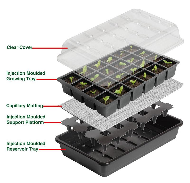 Seed Success miniväxthus med bevattning, 24 celler, Miniväxthus med celler för underbevattning