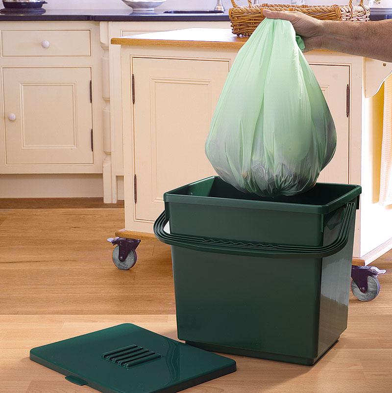 Biologiskt nedbrytbar påse till Compost Caddy - 30 liter, Nedbrytbar kompostpåse av stärkelse för komposthink