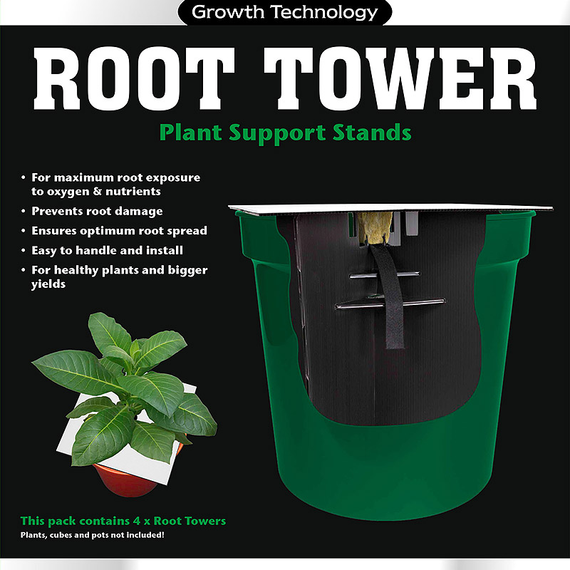 Root Tower, 4-pack, Root Tower. Krukhållare för hydrokultur.