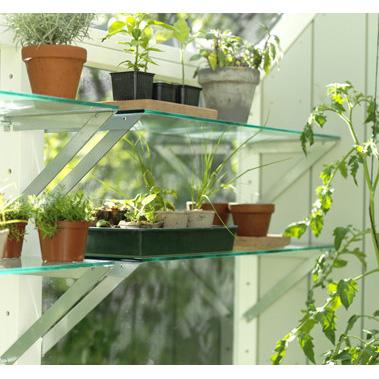 Glashylla för trädgårdslider, 30 cm djup, Glashylla till trädgårdslider