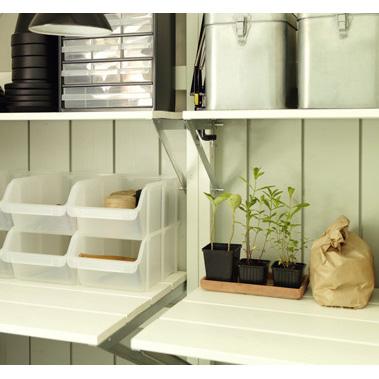 Trähylla för trädgårdslider, 60 cm djup-Trähylla till trädgårdslider