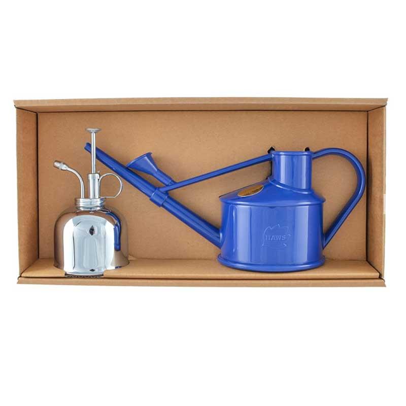 Set med vattenkanna och spray från Haws, blå och nickel