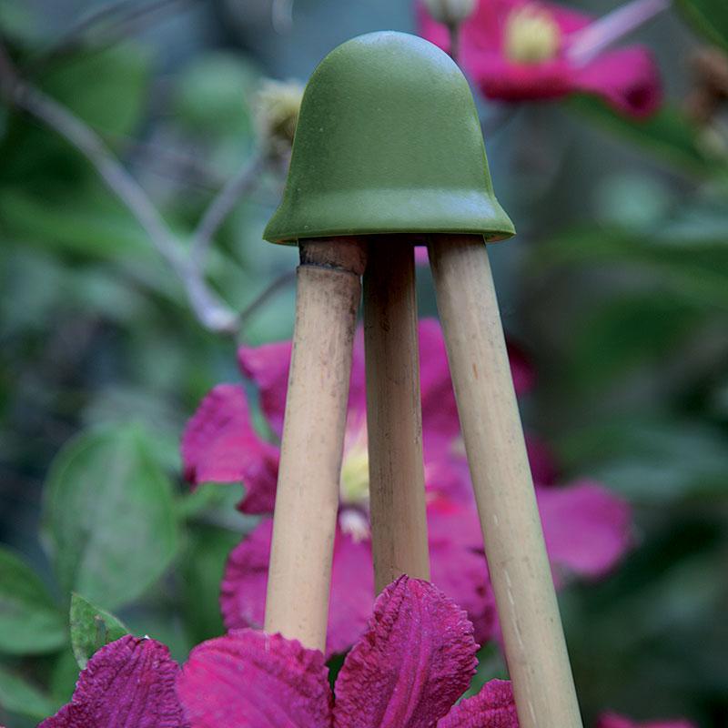 Växtstöd, 3 CaneTopper, oliv, 3-pack-CaneTopper pyramidväxtstöd, olivgrönt