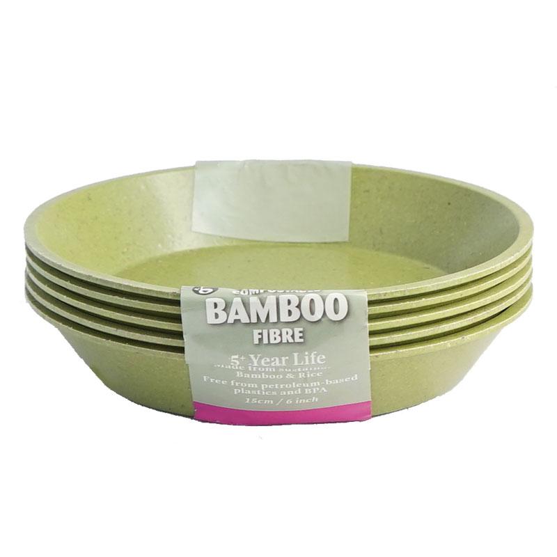 Krukfat tillverkad i bambu färgad i salviagrön 15 cm