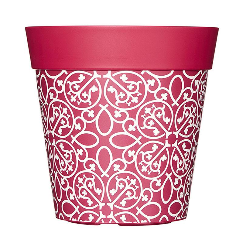 Rosa ytterkruka med bohemiskt motiv i tålig plast.