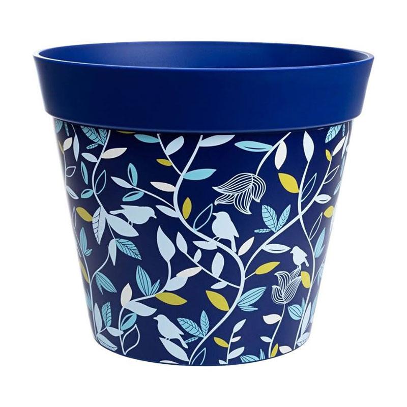 Blå ytterkruka med botaniskt motiv tålig plast på 7,5 liter.