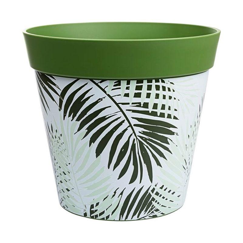 Grön/vit ytterkruka med palmbladsmotiv i tålig plast på 7,5 liter.