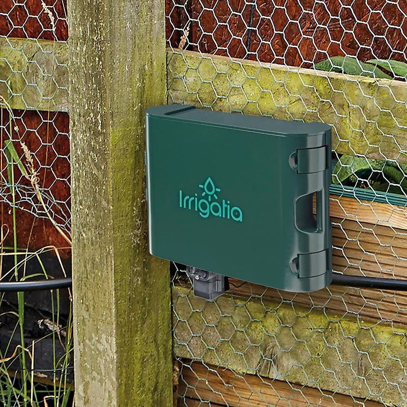 Irrigatia- SOL-C120. Vädersmart solcellsdriven bevattning för trädgård, land och växthus.