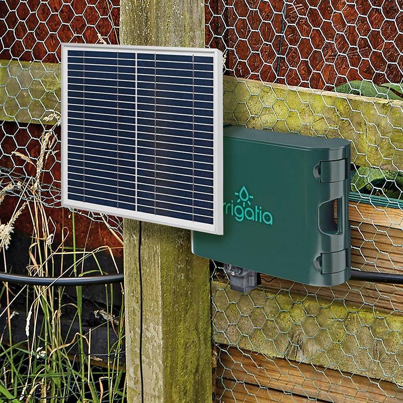 Väderresponsiv, solcellsdriven bevattningsautomatik, Irrigatia