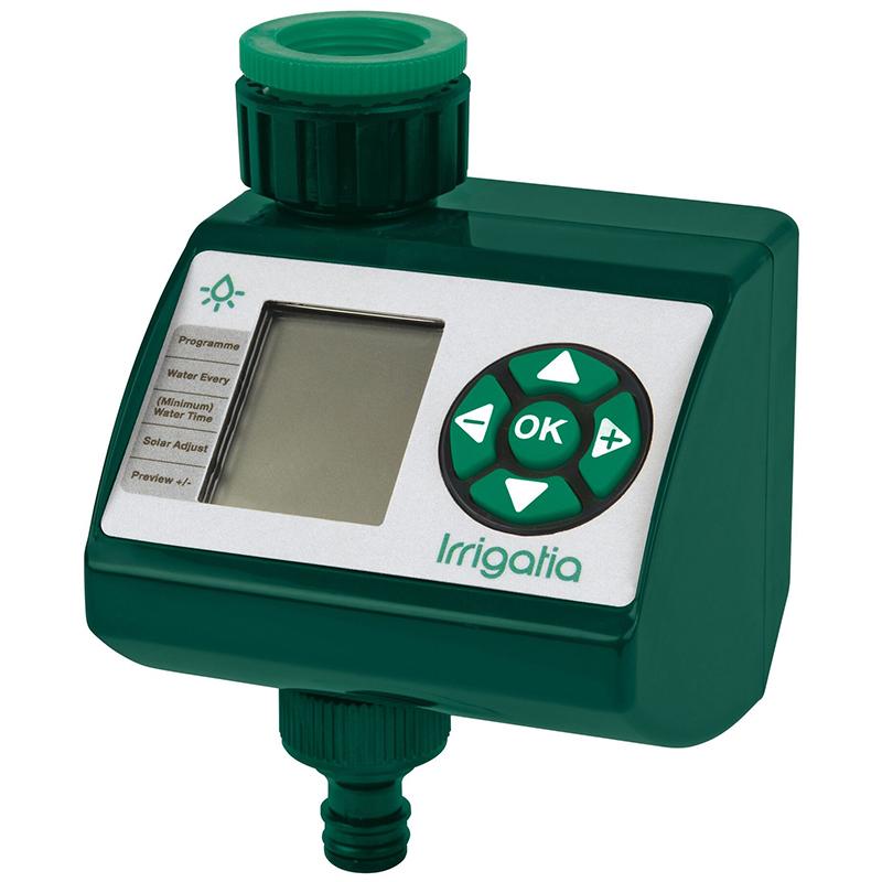 Irrigatia solcelldriven, väderresponsiv bevattningstimer för trädgården.