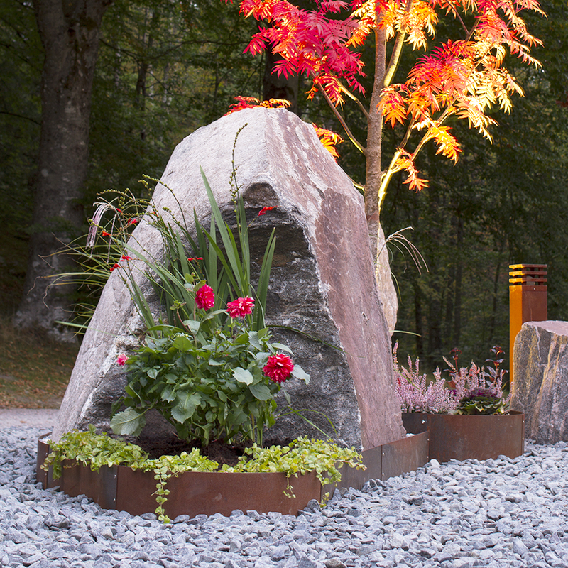 Planteringskant kvartsbåge corten, 120x1150 mm, Växtodling med raka trädgårdskanter