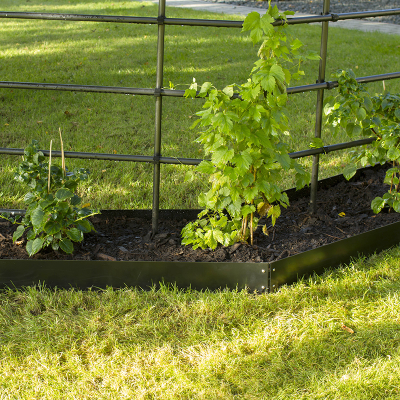 Planteringskant kvartsbåge svart, 180x750 mm, Blomplantering med raka planteringskanter