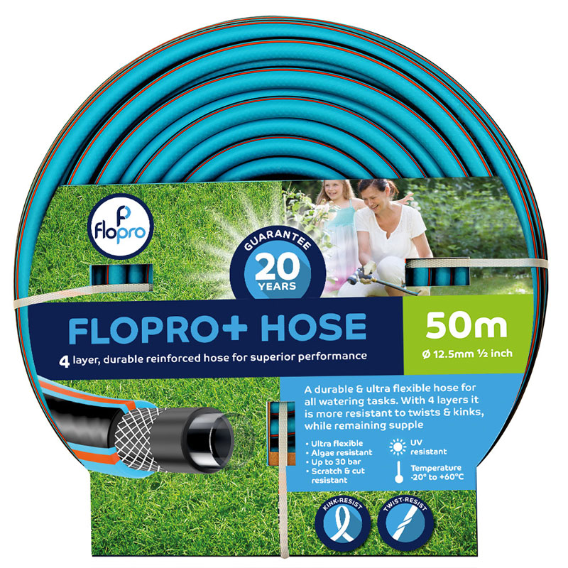 Flopro+ trädgårdsslang med 50 meter slang med kopplingar
