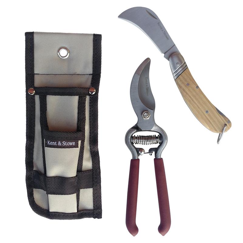 Hölster med trädgårdsredskap sekatör och beskärningskniv