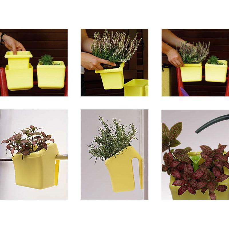 Klara Kipo Plant Pot, green, Klara Kipo kryddkruka med bevattningsdel