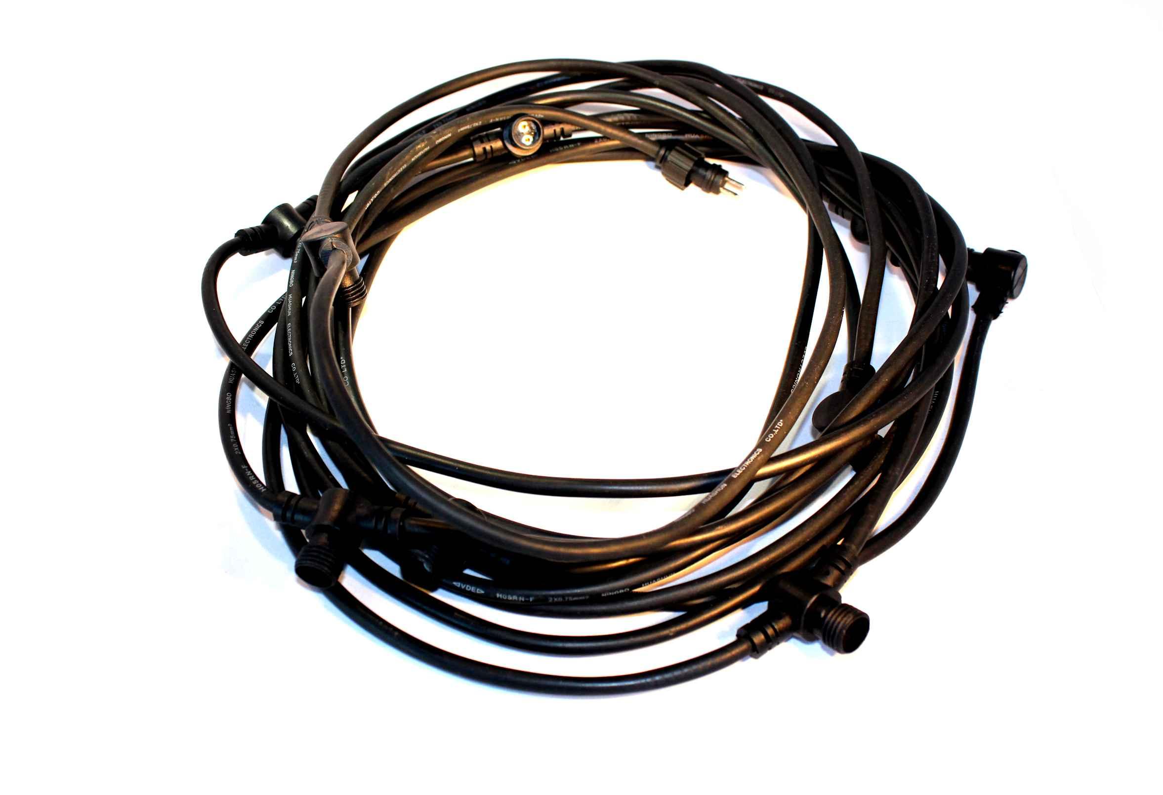 Förgreningskabel 9m med 8 grenkopplingar-Förlängningskabel LED Plug&Play - trädgårdsbelysning