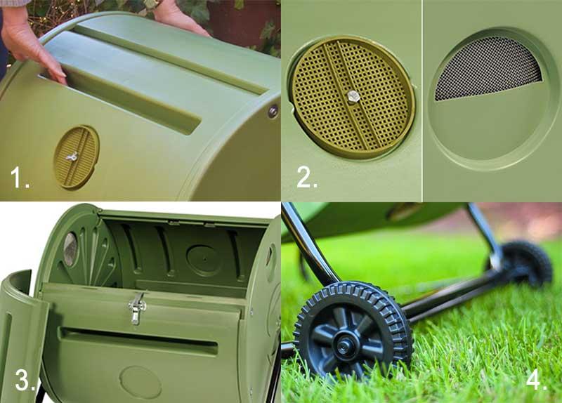 Detaljbilder på Mantis rullkompost för trädgården