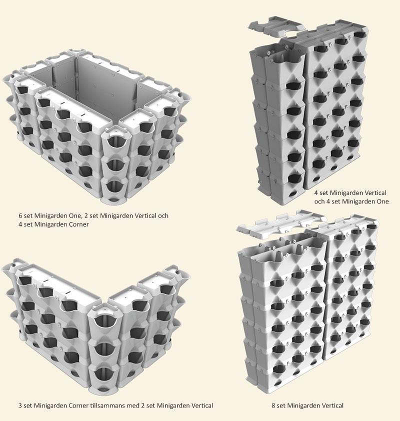 Exempel på olika konfigurationer med väggodlingssystem Minigarden